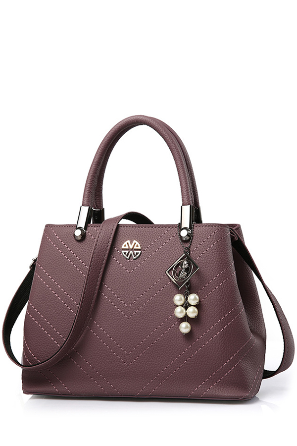 Pendant Stitching PU Leather Tote Bag Image