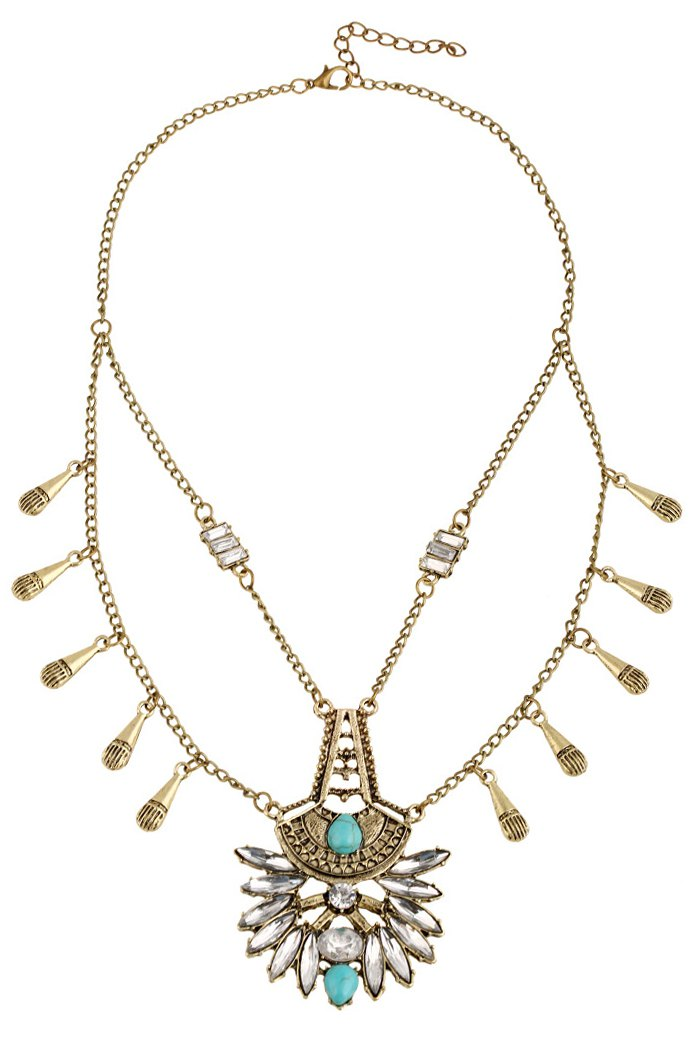 Faux Crystal Pendant Ethnic Necklace