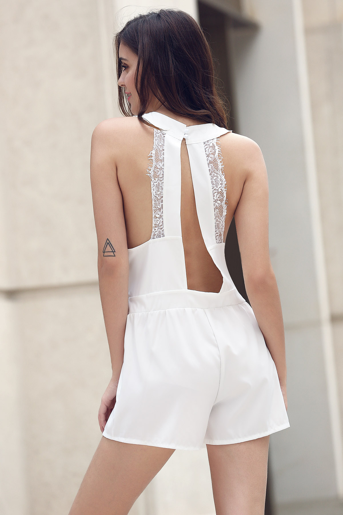 V-Neck Lace Spliced Cut Out Romper