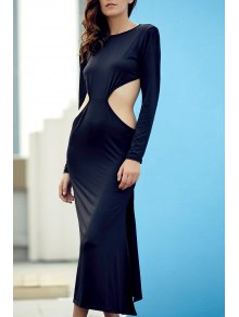 Backless Round Collar Long Sleeve Side Slit Maxi Dress