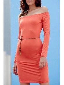 Off The Shoulder Sheath Long Sleeve Dress - Jacinth Xl