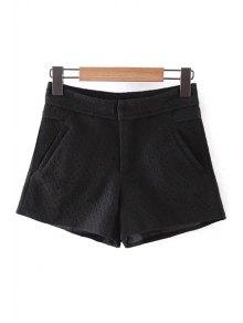 Lace Solid Color Pockets Shorts - Black L