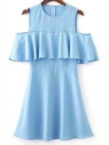 Ruffles Spliced Jewel Neck Cold Shoulder Dress - Light Blue M