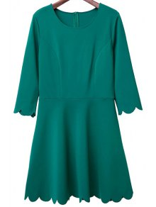 Solid Color Round Neck 3/4 Sleeve A Line Dress