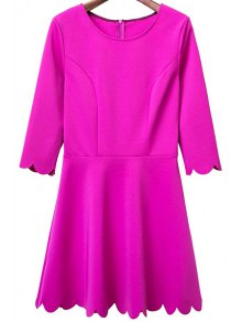 Solid Color Round Neck 3/4 Sleeve A Line Dress - Rose L