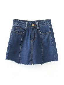 Solid Color Pockets Denim Mini Skirt - Deep Blue