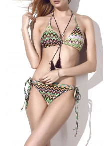 Lace Up Printed Elastic Bikini Set