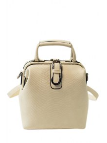 Embossing Buckle Solid Color Satchel - Off-white
