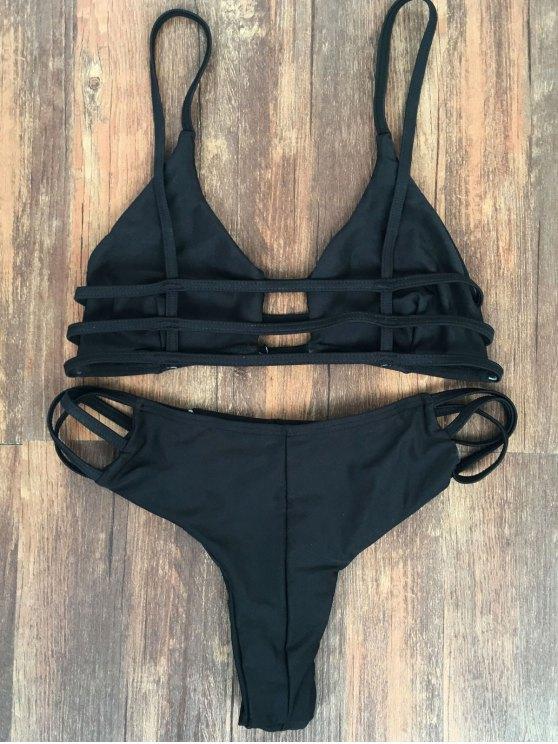 Spaghetti Straps Elastic Solid Color Bikini Set - BLACK XL Mobile