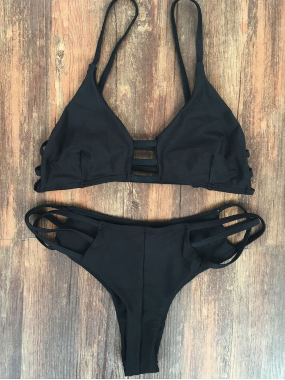 outfit Spaghetti Straps Elastic Solid Color Bikini Set - BLACK M