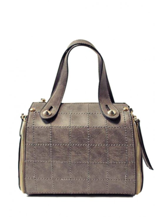 Grid Stitching PU Leather Tote Bag - GRAY  Mobile