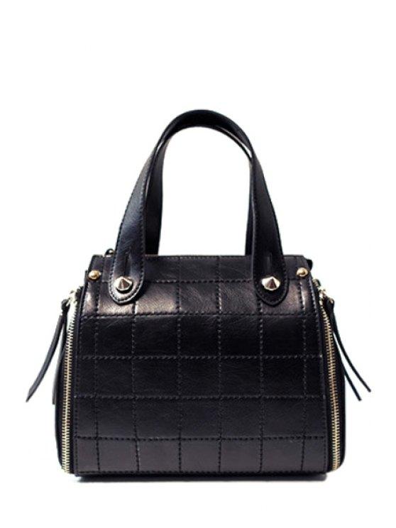 womens Grid Stitching PU Leather Tote Bag - BLACK