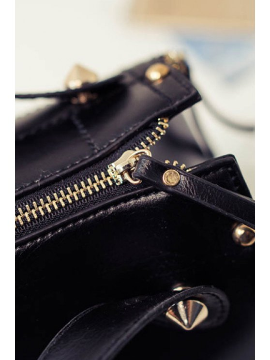 Grid Stitching PU Leather Tote Bag - BLACK  Mobile