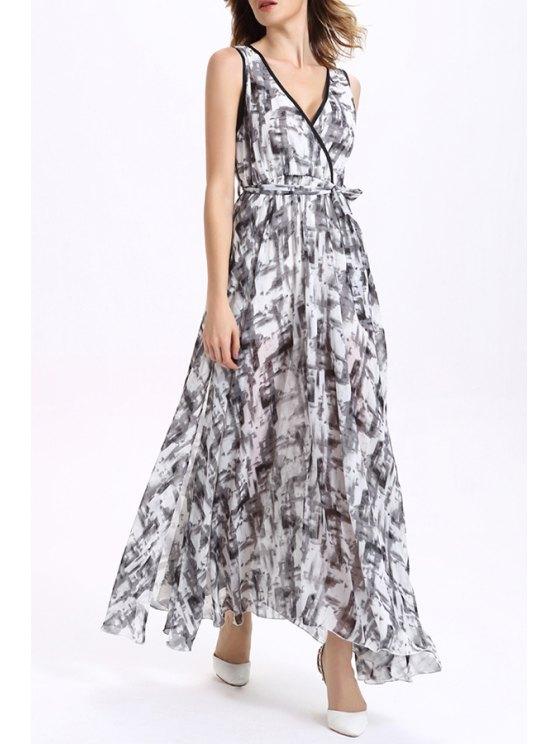 Printed Maxi Chiffon Dress - COLORMIX L Mobile