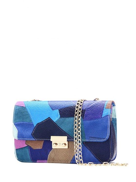 trendy Color Block Hasp Chains Crossbody Bag - BLUE