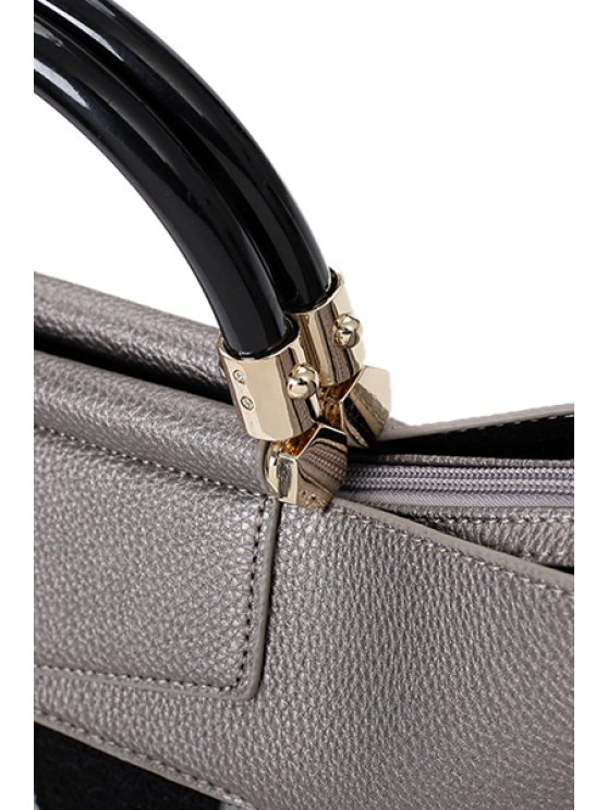 Print Splicing PU Leather Tote Bag - LIGHT GRAY  Mobile
