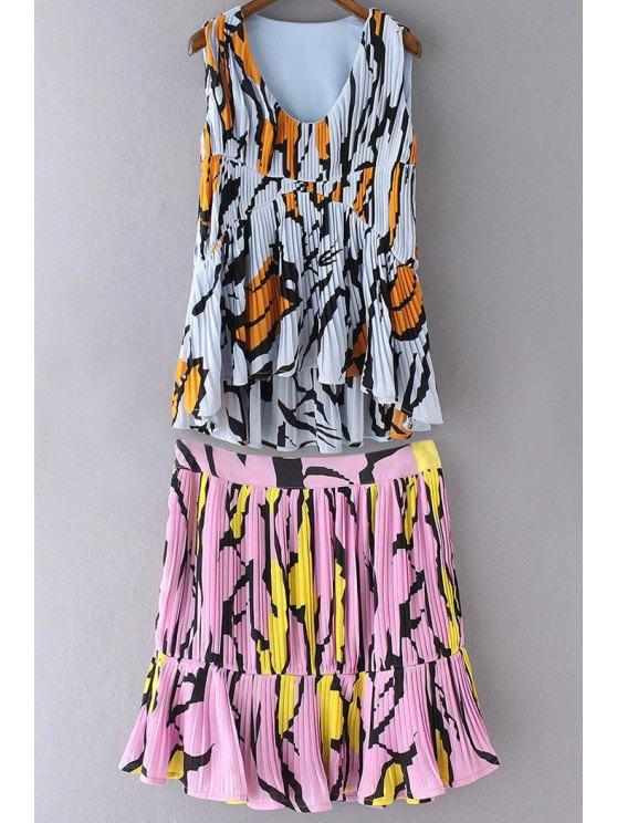 Impreso colorido de la alta cintura una línea de Falda y de mayor a menor cuello en V sin mangas - Rosa M
