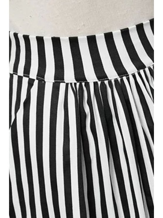 Striped High Waist A-Line Skirt - BLACK L Mobile