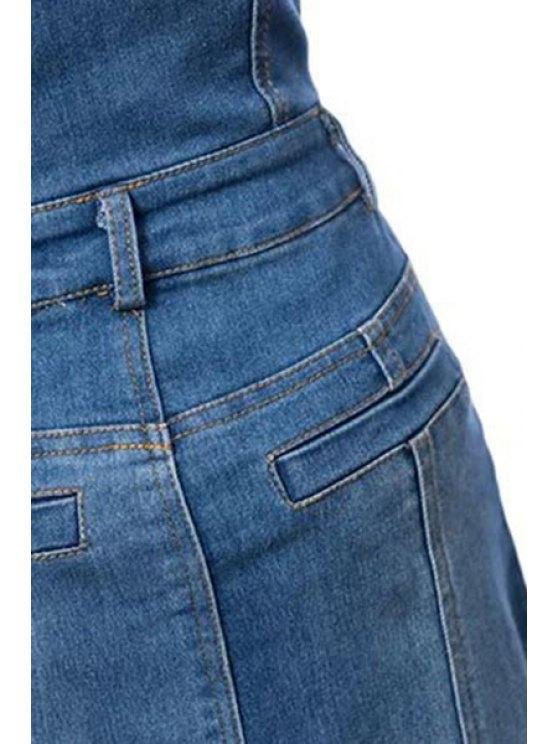 Bleach Wash High Waist A-Line Mermaid Denim Skirt - BLUE M Mobile