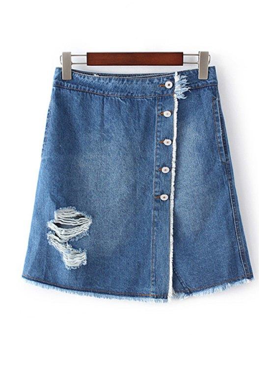 women's Ripped Single-Breasted High Waist A-Line Denim Skirt - BLUE L