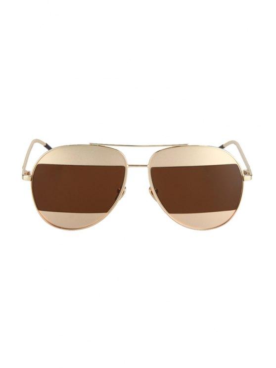 Irregular Lenses Golden Alloy Sunglasses - TEA-COLORED  Mobile