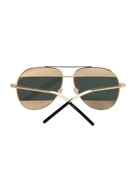 Irregular Lenses Golden Alloy Sunglasses - BLACKISH GREEN  Mobile