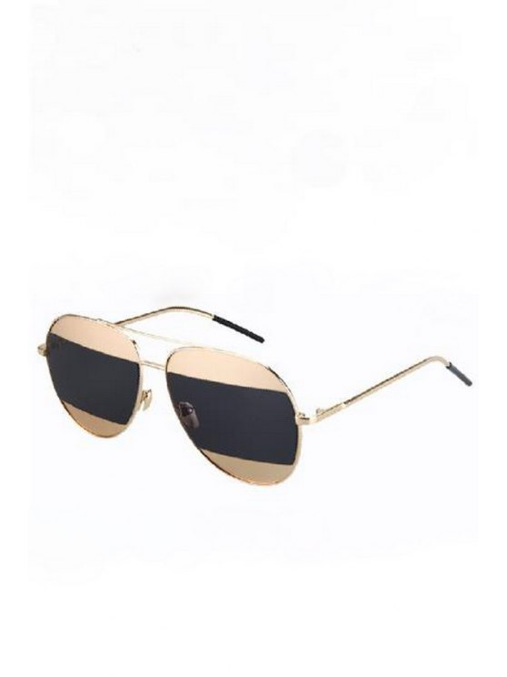 Objectifs irréguliers d'or en alliage Aviator Sunglasses - Noir