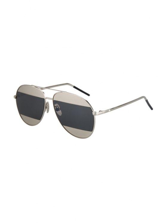Objectifs irréguliers Argent alliage Aviator Sunglasses - Gris Noir
