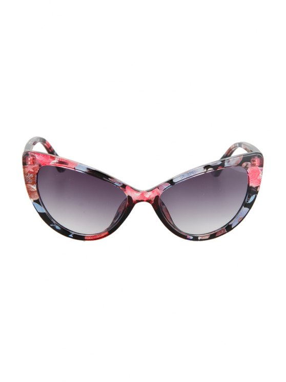 Letter T Shape Inlay Flower Sunglasses - RED  Mobile