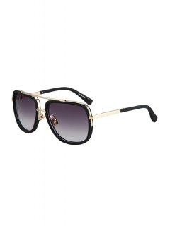 Alloy Match Matte Black Quadrate Frame Sunglasses - Black