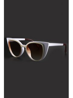 Hollow Out Frame Color Block Sunglasses - White