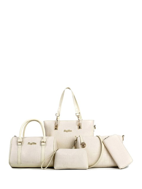 online Metal Letters Crocodile Print Shoulder Bag - MILK WHITE  Mobile