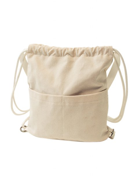 ladies Solid Color Drawstring Canvas Satchel - OFF-WHITE  Mobile