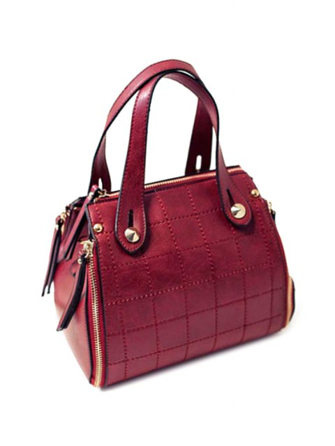 women's Grid Stitching PU Leather Tote Bag - WINE RED  Mobile