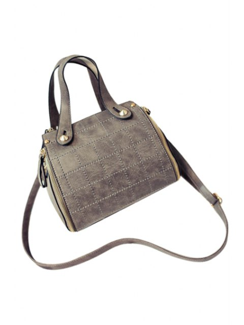 women Grid Stitching PU Leather Tote Bag - GRAY  Mobile
