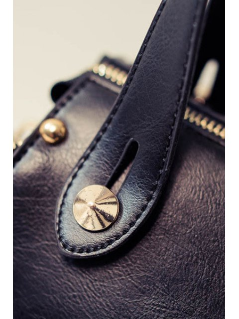 womens Grid Stitching PU Leather Tote Bag - BLACK  Mobile