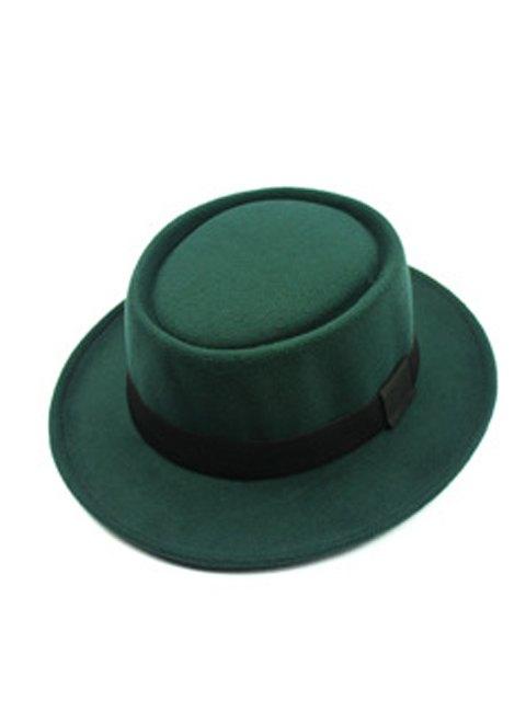trendy Flat Top Felt Jazz Hat - BLACKISH GREEN  Mobile