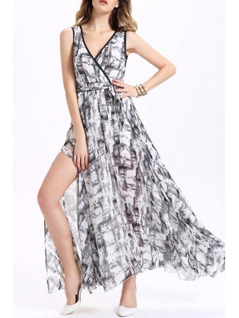 lady Printed Maxi Chiffon Dress - COLORMIX L Mobile