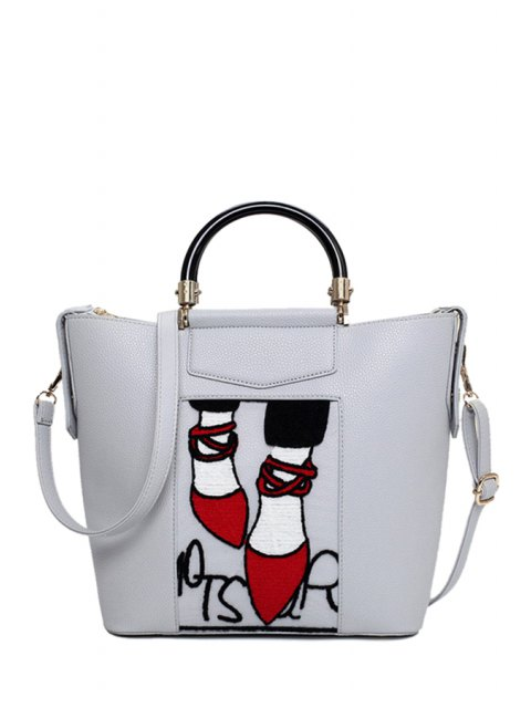online Print Splicing PU Leather Tote Bag - LIGHT GRAY  Mobile