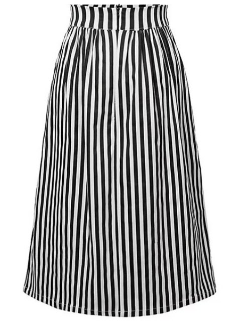 best Striped High Waist A-Line Skirt - BLACK L Mobile