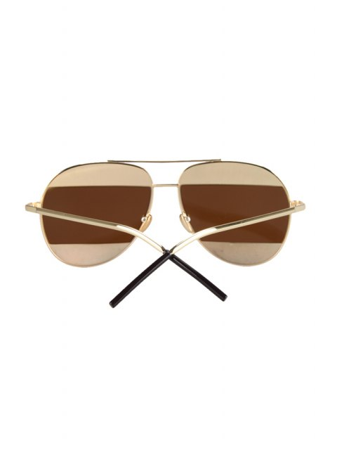 ladies Irregular Lenses Golden Alloy Sunglasses - TEA-COLORED  Mobile