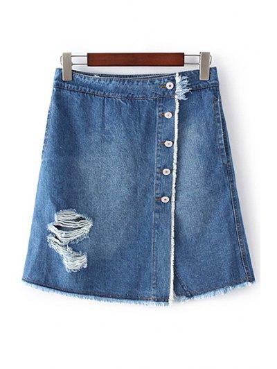 Ripped Single-Breasted High Waist A-Line Denim Skirt - Blue