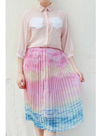 Ombre Color High Neck Chiffon Skirt - COLORMIX M Mobile