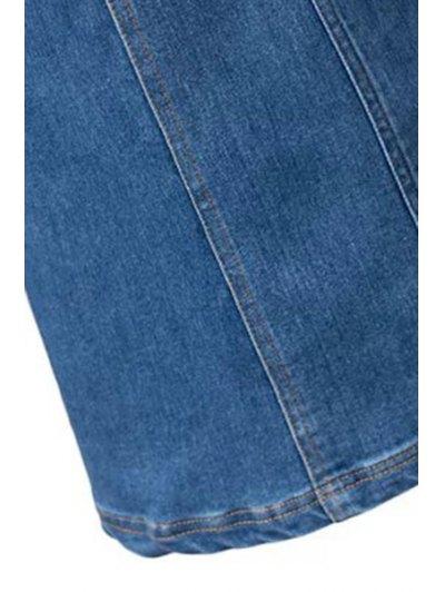 Bleach Wash High Waist A-Line Mermaid Denim Skirt - BLUE L Mobile