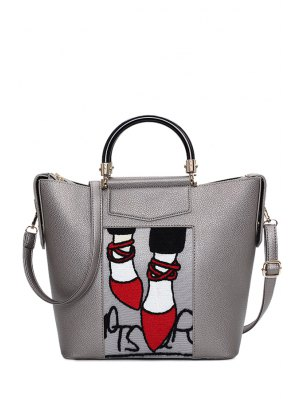 Print Splicing PU Leather Tote Bag - Gray