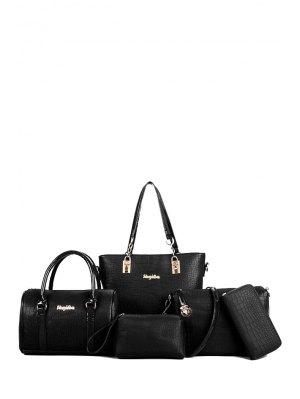 Metal Letters Crocodile Print Shoulder Bag - Black