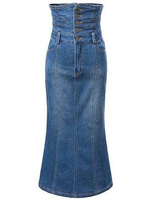 Bleach Wash High Waist A-Line Mermaid Denim Skirt - Blue