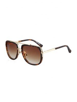 Alloy Match Leopard Pattern Sunglasses - Brown