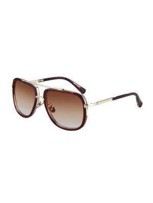 Alloy Match Tea-Colored Frame Sunglasses - Tea-colored