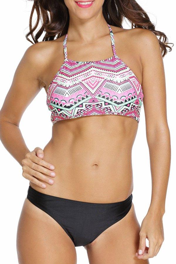 Halter Underwire Geometric Pattern Bikini Set